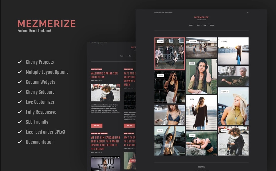 Mezmerize - Fashion Brands Lookbook WordPress Theme