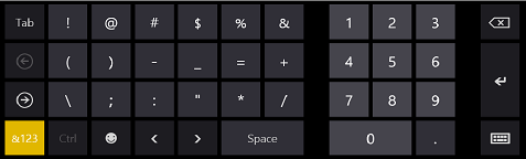 Windows 8 on-screen keyboard for telephone number input