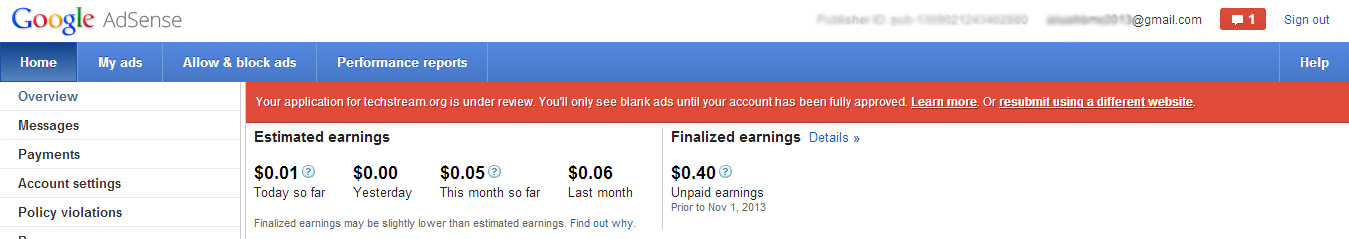 Google Adsense Permenant Notification